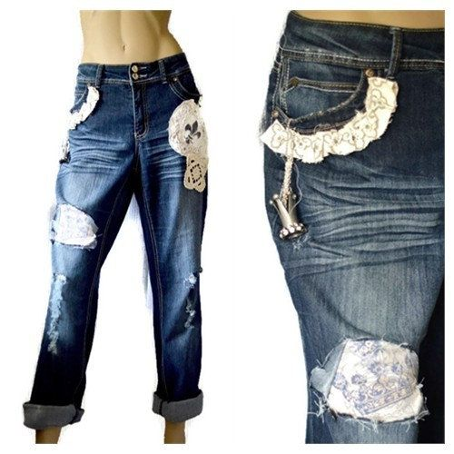 Boyfriend Jeans, Distressed jeans, Tattered jeans, Shabby Majestic, Embellished jeans