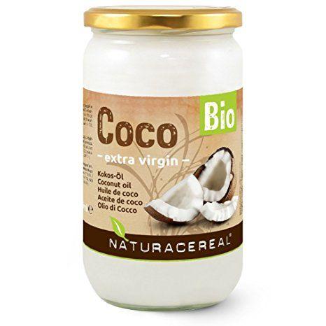 Kokosöl Bio von NATURACEREAL 1000ml im Glas: unraffiniert, unbehandelt, ungehärtet & nicht desodoriert / Kokosnussfett Kokos-Öl Kokosfett Cocosfett Coconut Oil. Kontrollierte Qualität.