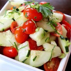 Cucumber Tomato Salad Allrecipes.comTomatoes Salad, Tomatoes Cucumber, Nice Juicy, Cucumber Salad, Juicy Steak, Allrecipes Com Yummy, Cucumber Tomatoes, Hot Summer, Crumble Feta