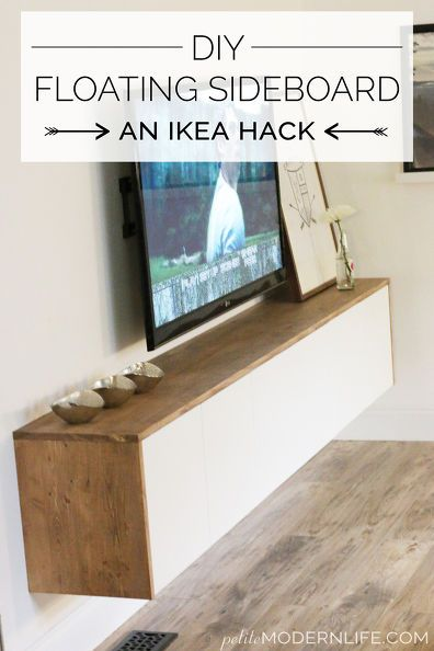 diy floating sideboard credenza, diy, entertainment rec rooms, living room ideas, painted furniture, repurposing upcycling, woodworking projects