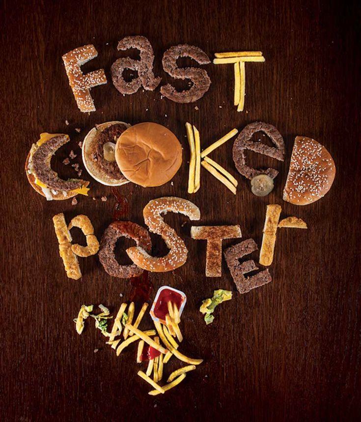 Alexander Eliseev maakte deze typografie poster aan de hand van eten. Hij zocht de juiste vormen in het eten, zodat hij de gewenste letters kon maken.   Domein: Woord Werkvorm: taaldrukken Geraadpleegde site: http://www.makesimpledesigns.com/food-typography-typography-inspiration-you-can-eat/1-alexander-eliseev-fast-cooked-poster/