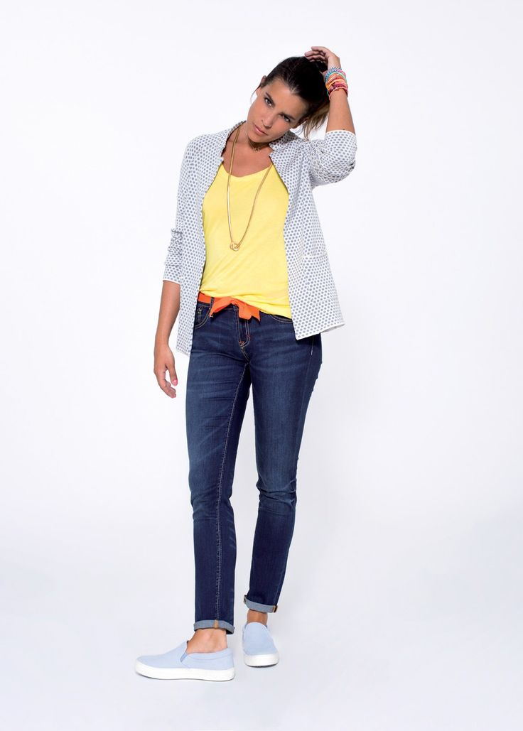 When casual elegance takes on a urban and chic flair: a jacquard knitted cotton jacked, worn over bold-coloured, sleeveless cotton top and a pair of slim-fit jeans.  SUN68 Woman SS15 #SUN68 #SS15 #woman #jeans #denim #jacket #top
