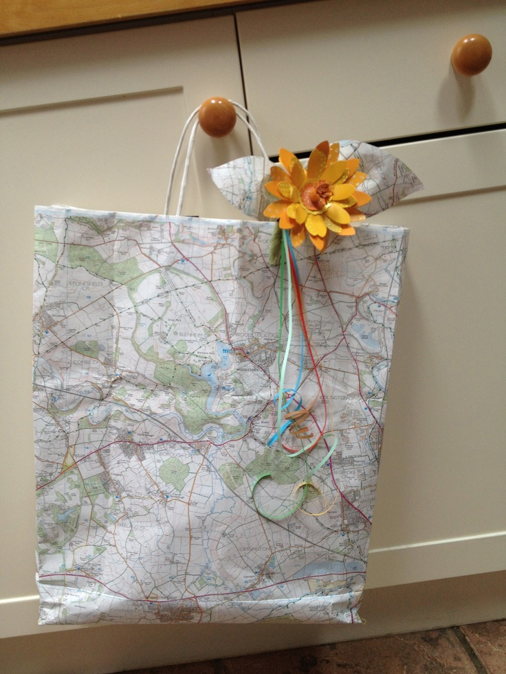 paper bag / gift bag made from and Ordnance Survey map