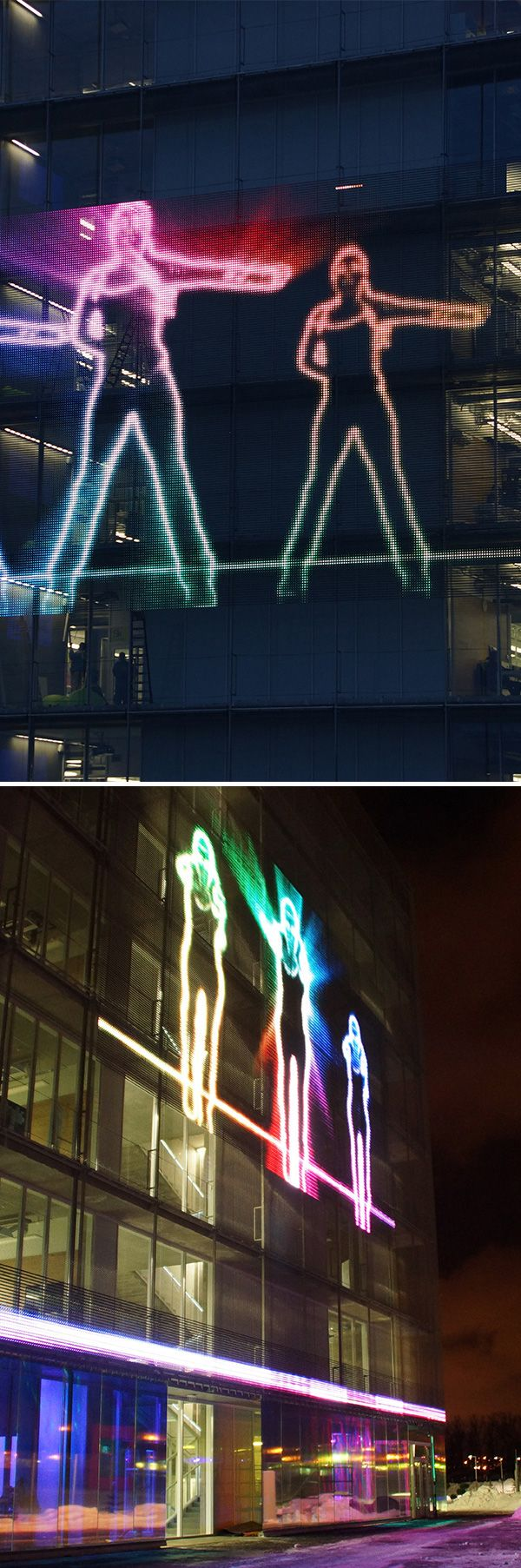 The innovative transparent LED mesh media facade IMAGIC WEAVE by Haver & Boecker easily transforms façades into exciting transparent canvases for vibrant, large-scale communication. Project: Skolkovo Hypercube, Moscow