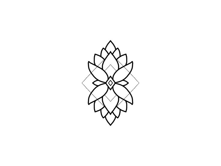 Geometric Flower blackwork design.