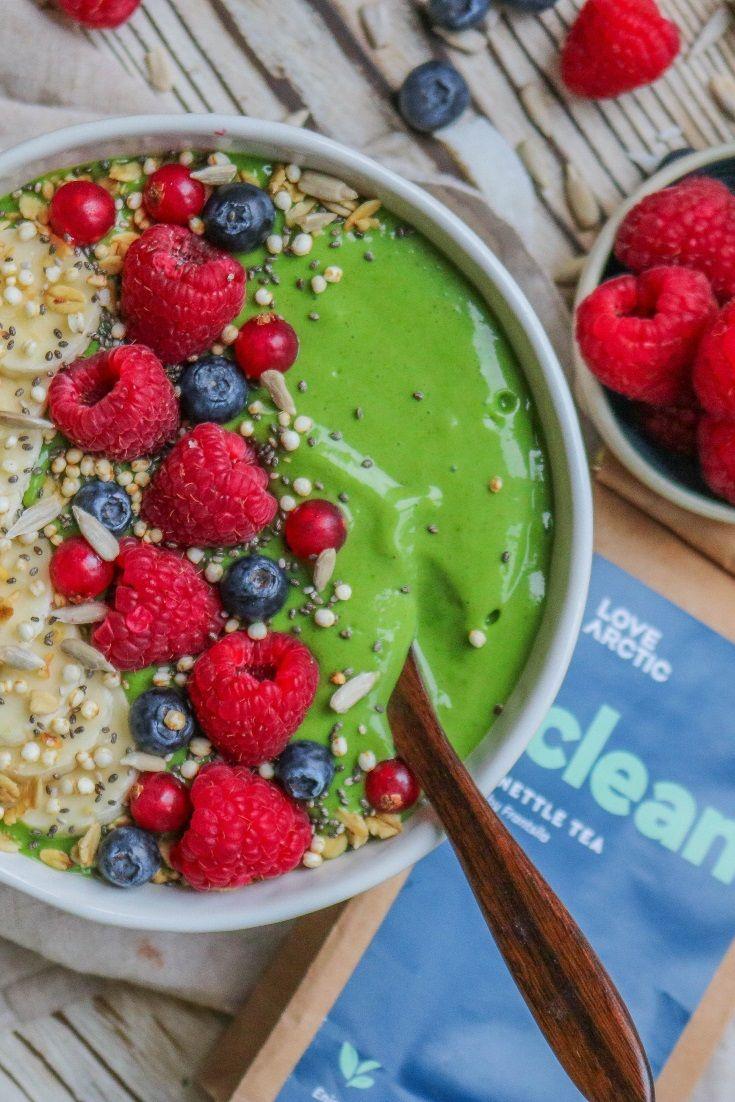 Green Goddess Nettle Smoothie Bowl #greensmoothie #veganrecipes #smoothiebowl