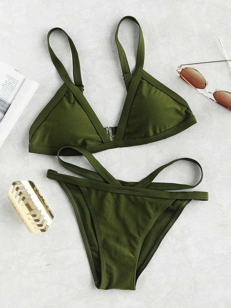 Shop Strappy Triangle Bikini Set online. SheIn offers Strappy Triangle Bikini Set & more to fit your fashionable needs.