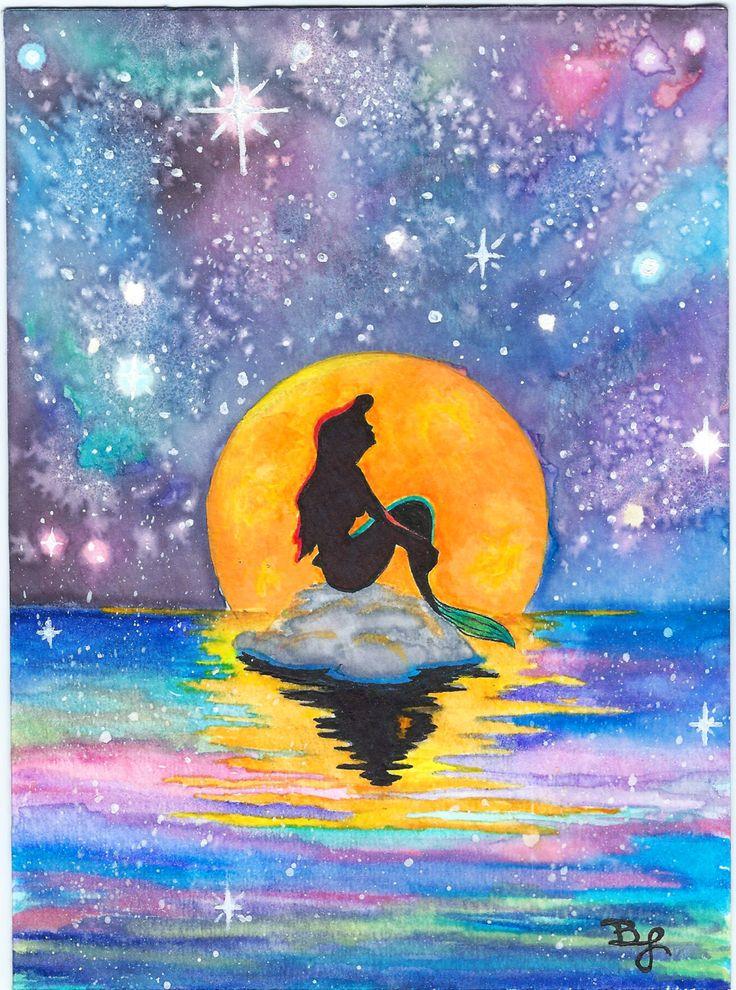 Original The Little Mermaid Galaxy Stencil by BrietronArt