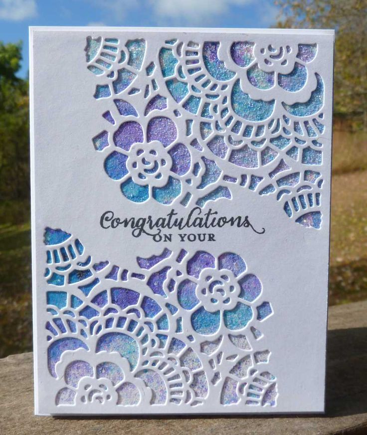 """4.25 x 5.5"""" card designed & made by Karen Margotta. Used Tim Holtz Mixed Media #2 dies, Ken Oliver color bursts in Violet and Unltramarine Blue, Spray adhesive, glitter and StampinUp Wild About Flowers for sentiment stamp."""