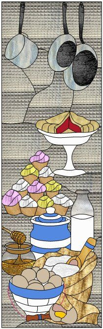 """Baking 17 x 55"""" Stained Glass Pattern  Artist Ruth Green"""