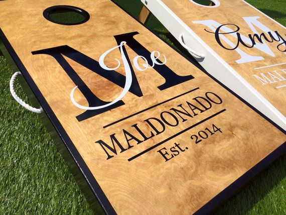 Real Birch Stained Custom Personalized Cornhole Board Sets , $225