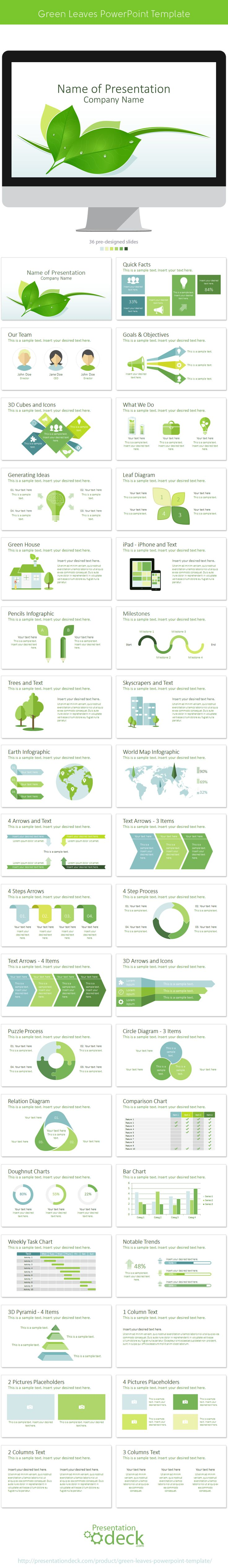 Green Leaves PowerPoint Template with 36 pre-designed slides. #presentations #powerpoint #green