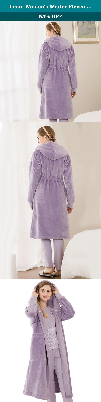 Insun Women's Winter Fleece Pajama Hoodie Long Plush Bathrobe Spa Robe Purple. Hoodie long plush bathrobe featuring solid color elastic waist belt,flat soft pockets and warm hood.