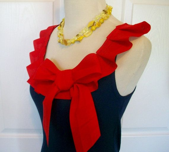 Embellished Tank Top in Navy with Red Box Pleat by RaspberryMarket, $38.00