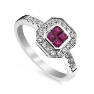 Inel cu rubin si diamante C456