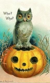 Vintage Halloween postcard- with an owl and a jack o'lantern