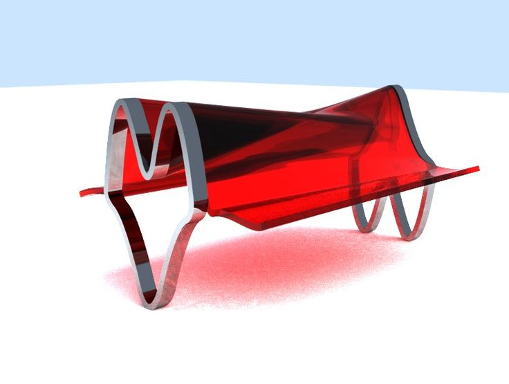 Starship bench -  Red Transparent with metal