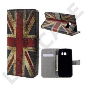 Moberg Læder-etui med kortholder og indbygget stander til Samsung Galaxy S7 - Gammeldags britisk flag
