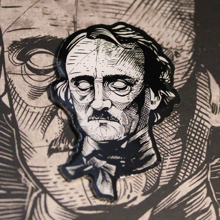 "Edgar Allan Poe Hard Enamel Pin 1.5"" on backing card – miles to go clothing"
