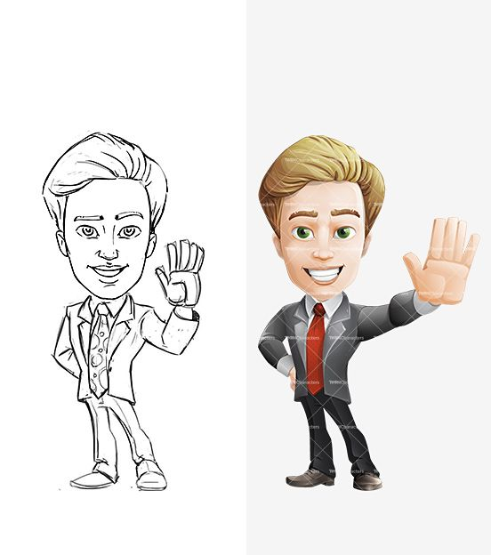 2 Male Cartoon Characters : Handsome businessman cartoon character male