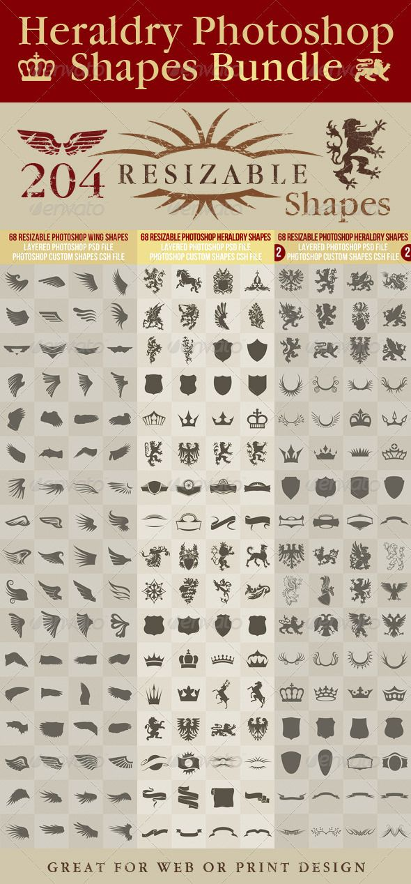 Heraldry Photoshop Shapes Bundle - graphicriver.net/item/40-vector-shield-shapes/1732596?ref=cruzine