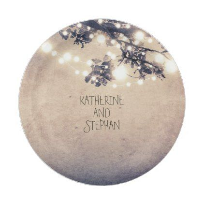 Branches and Lights Rustic Wedding Paper Plate - rustic country gifts style ideas diy