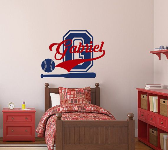 Wall Decals For Boys Name Sport Vinyl Decal Baseball Monogram Sticker Ball Kids Nursery Bedroom Decor