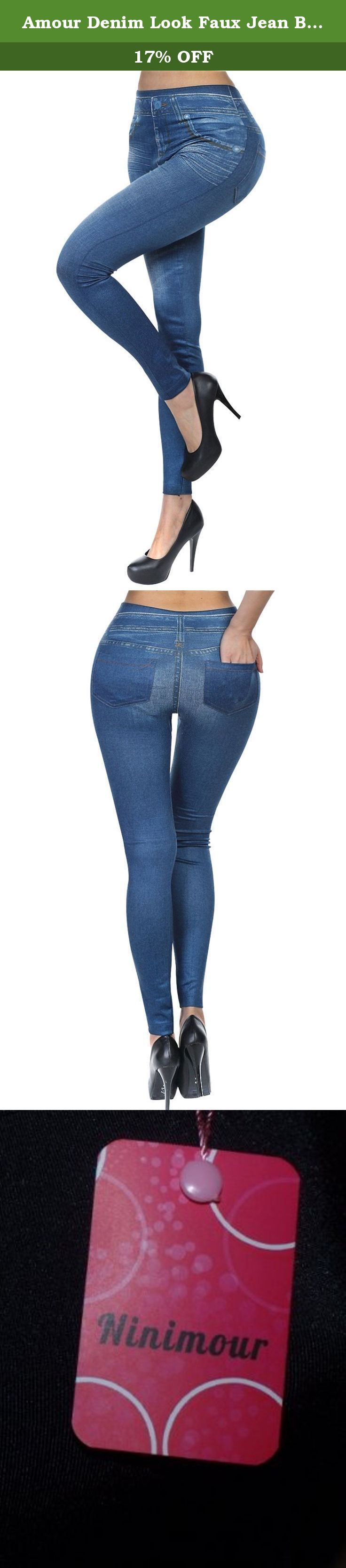 Amour Denim Look Faux Jean Blue Stretchy Leggings Tights Pants Jeggings Trousers (Blue-LT8242). Sexy Denim Look Faux Jean Blue Stretchy Leggings Tights Pants Jegging Description: 100% Brand New. High quality & Comfortable Fabric 93% Polyester 7% Elastan Designed especially for lady and young girls Package included:1* Women's Pants.