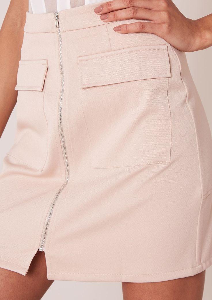 Megan Nude Pocket Detail Zip Up Mini Skirt