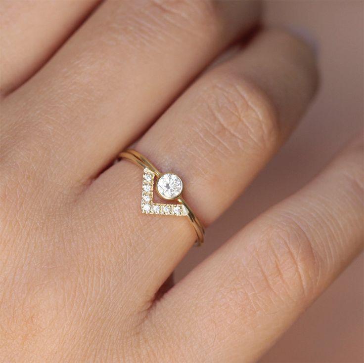 Wedding Set - Simple Round Diamond Ring & Pave Diamond V ring - 18k Gold by artemer on Etsy https://www.etsy.com/listing/198699881/wedding-set-simple-round-diamond-ring