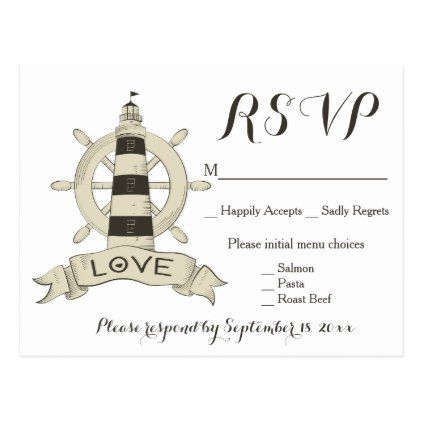 Nautical Brown RSVP Lighthouse Ship Anchor Wedding Postcard - wedding party gifts equipment accessories ideas