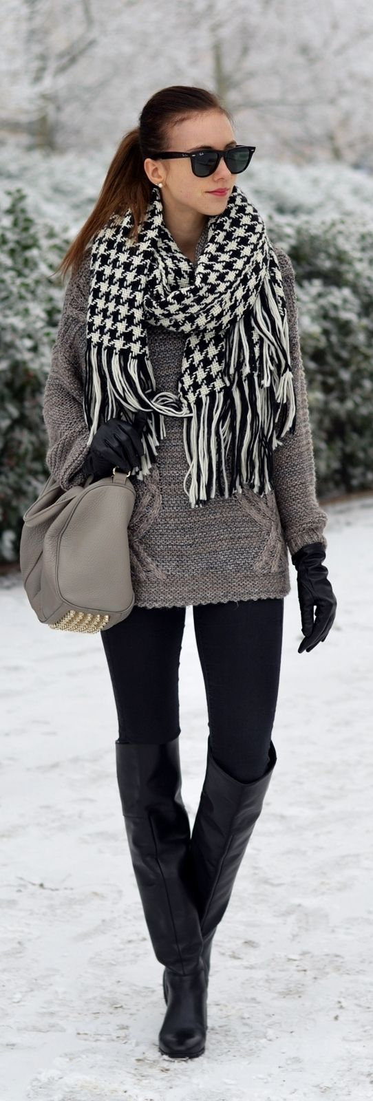 Winter look: Black and white hounds-tooth scarf, chunky sweater, leggings and over the knee, black leather boots.
