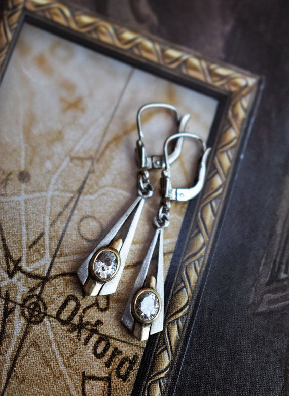 Vintage Art Deco Silver Earrings Art Deco by PrettyDifferentShop
