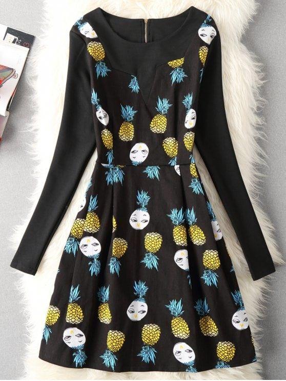 Cartoon Pineapple Print Fit And Flare Dress - Black 2xl #Shoproads #onlineshopping #women #fashion #dresses