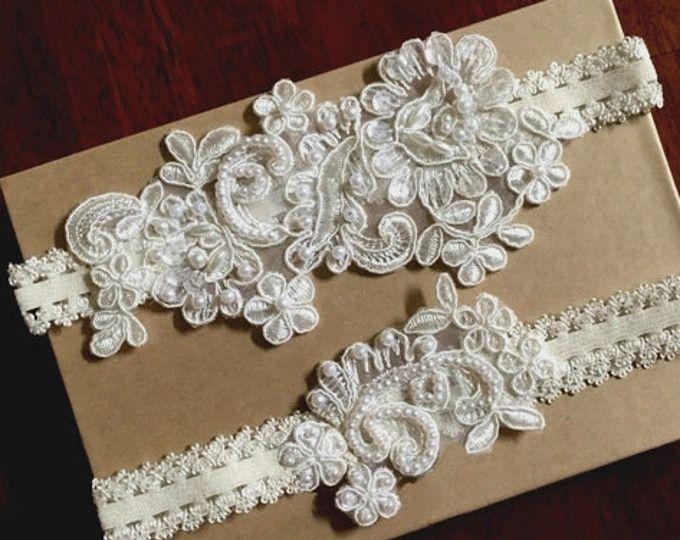 Liga de novia Ivory de encaje, liguero de novia, marfil encaje Liga nupcial Set, Liga nupcial de encaje marfil de cuentas