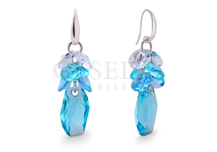 Przepiękne, błękitne kolczyki z kryształami SWAROVSKI ELEMENTS | SREBRO \ Kolczyki od GESELLE Jubiler