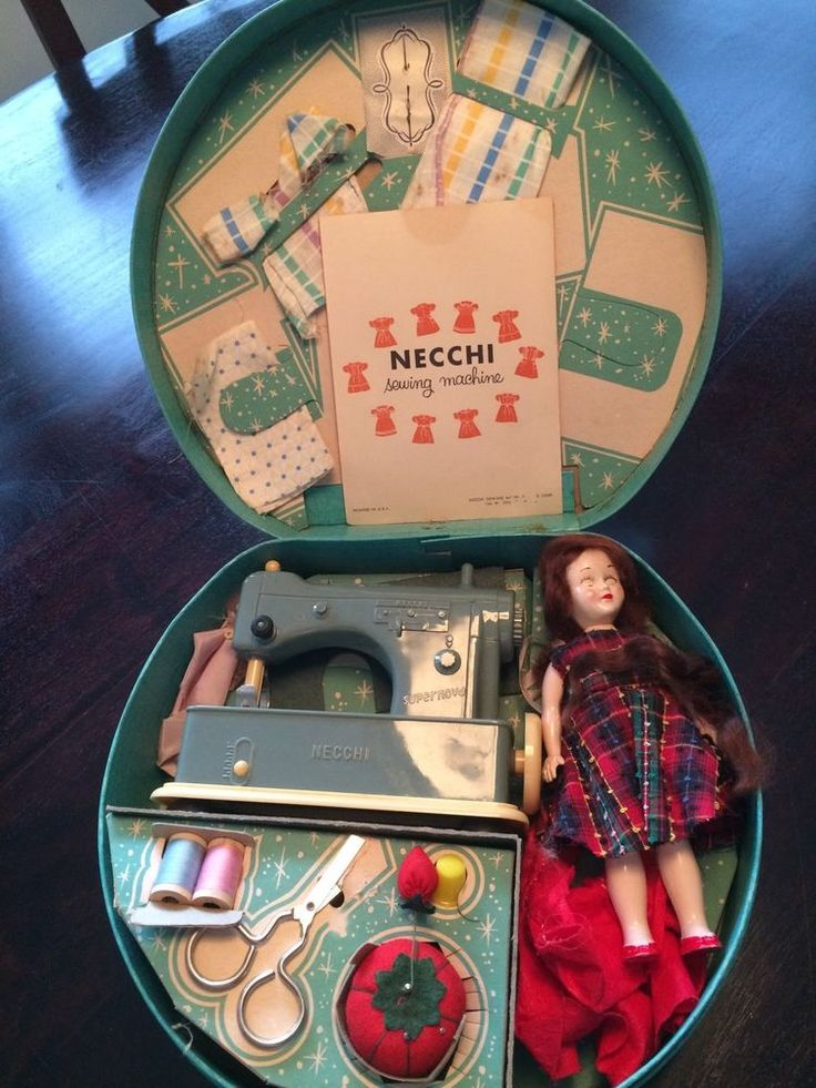 Vintage Necchi Supernova Toy Sewing Machine with Accessories 1950's - OMG this is adorable!!