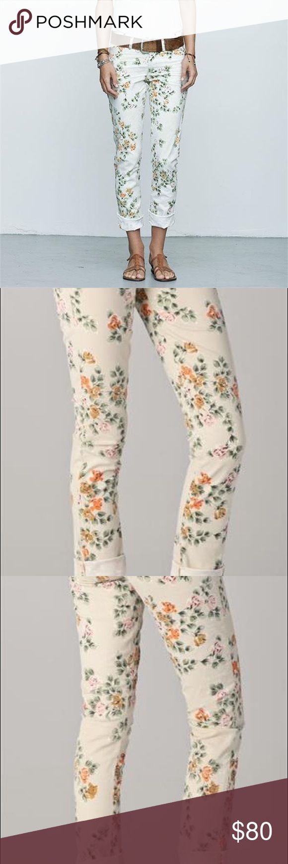 """CITIZENS OF HUMANITY Mandy Floral Jeans (28) Anthropologie's CITIZENS OF HUMANITY Mandy Floral Roll Up Jeans...womens size 28. 97% Cotton, 3% Lycra. Color is natural floral. A vibrant vintage floral patterns a pair of retro high-waisted semi-skinny jeans fashioned from stretch denim with a sleek, modern silhouette. 5-pocket styling, single button closure and worn edges. Worn once, remains in perfect condition--will include tags.  * 9"""" rise. 31"""" inseam. * 13"""" leg opening. Citizens Of Humanity…"""