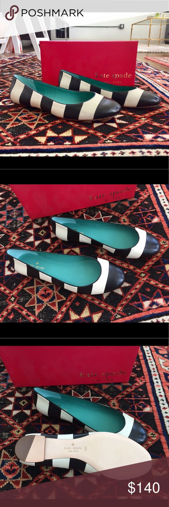 NWT Kate Spade Tanya Flats Brand new in box with original stuffing. Nautical stripes with round-toe ballet flat that pairs perfectly with dresses and jeans of any color. Black and white stripes are a classic versatile combo! 100% leather. Sold out everywhere! kate spade Shoes Flats & Loafers