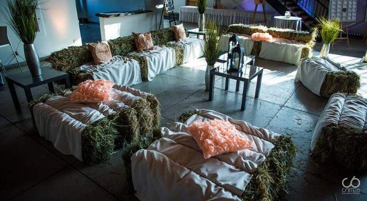 rustic romantic wedding - Peach & History Haybale lounge Wedding planner: Site 6 Events ltd www.site6events.com