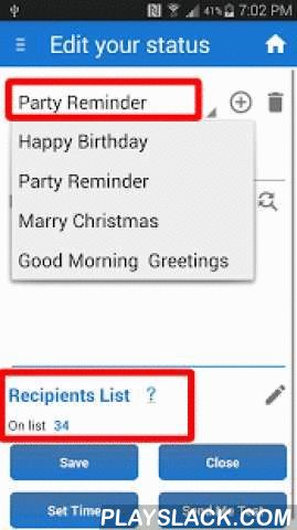 Greetings Scheduler & Sender  Android App - playslack.com ,  Greetings Scheduler & Sender - send SMS automatically to preset list of recipients at a scheduled time. Congratulate your loved ones, family and friends. Enter every event in advance and let the app sent you greetings.●●●USE GREETINGS SMS SENDER for :●●●★ Birthday SMS Wishes, ★ Holiday SMS Greetings★ Love SMS Scheduler and sender★ Romantic SMS Scheduler and sender★ Valentine Day Greetings★ Send kiss day and love auto sms…