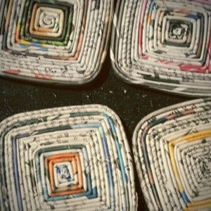 Recycled Newspaper Coasters  Also see this link for folding the strips of newspaper and rolling into coils: http://www.craftstylish.com/item/39212/how-to-recycle-magazines-into-jewelry/page/all