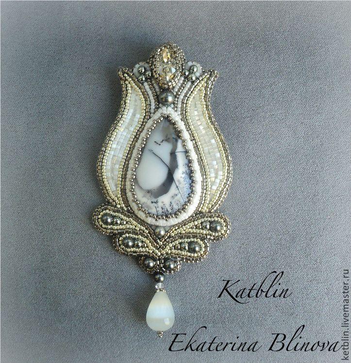 """Брошь-кулон """"Каменный цветок"""" Резерв - серебряный,серый,брошь,кулон,натуральные камни"""
