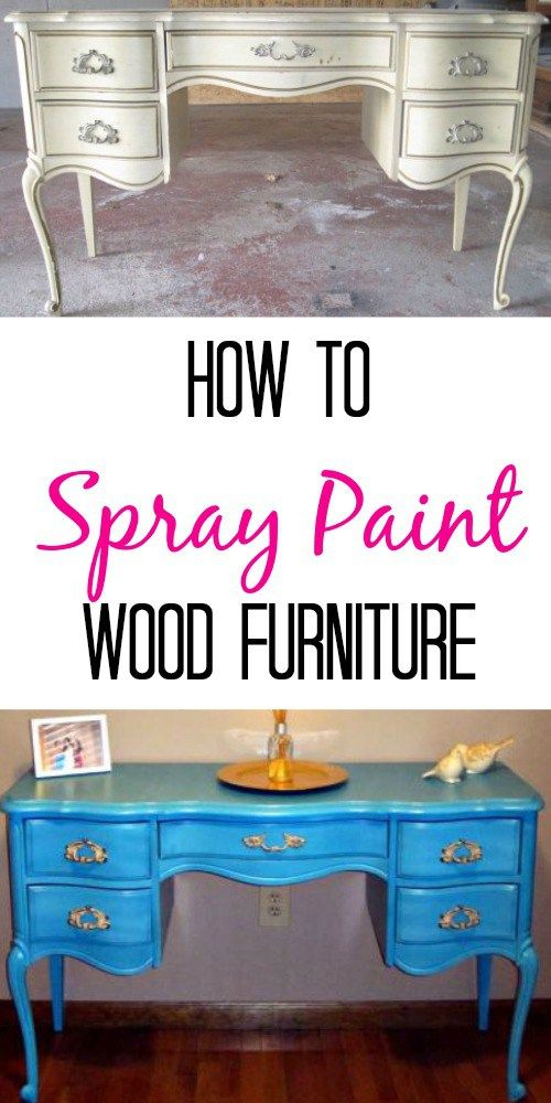 How to spray paint wood furniture. Easy tutorial with step by step pictures. Easy!
