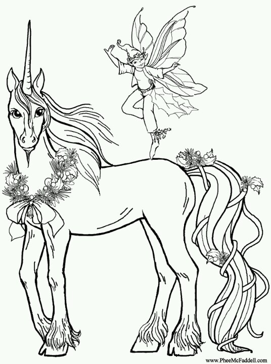 unicorn faerie coloring pages - photo#15