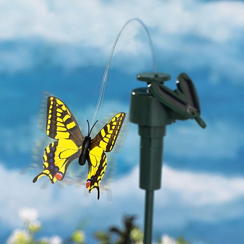 Solar Yellow Swallowtail Fluttering Butterfly.  Item #46910 $10.99. Add a touch of whimsy to your garden with this remarkable solar stake. With a solar panel that is charged by the sun, this delicate butterfly flutters and twirls with realistic motion on an almost invisible wire.