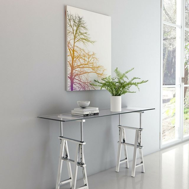 Multipurpose furniture is our answer to small or open concept spaces. This table could be used in an entry or hallway, as a desk or the beginnings of a sleek bar. Bonus, its adjustable. #designtips