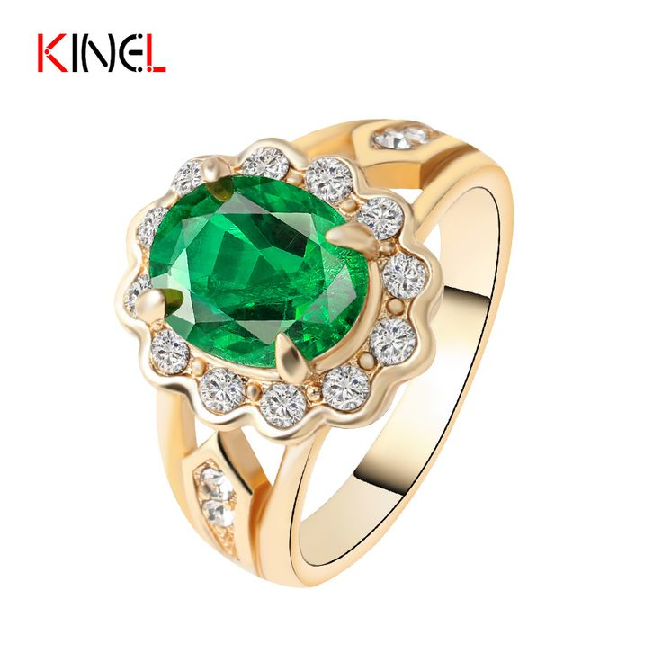 Fashion Gold Plated Ring For Women Crystal Charm Wedding Rings Engagement Fine Jewelry Size 7 8 9 10