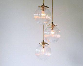 Vidrio globo araña, colgante de Orbe caen 3 luces, moderna iluminación de declaración