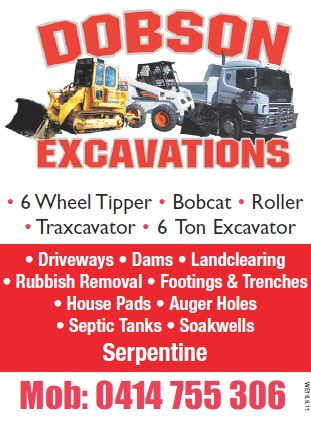 Dobson Excavations  95252511 0414755306 dobson_excavations@live.com www.dobsonexcavations.com.au  We are Family run and operator business, all drivers and machinery are fully licensed and insured.   We cater for House pads/Shed Pads/Water Tank Pads Leach Drain/Septic Tanks/Soak wells Footings/Pier Holes/Trenches Dams/Pool Holes/Pond Holes Limestone Retaining walls/Rock,Gravel,soil and Sand deliveries Rubbish Removal/Lawn Removal/Driveways/Fire Breaks